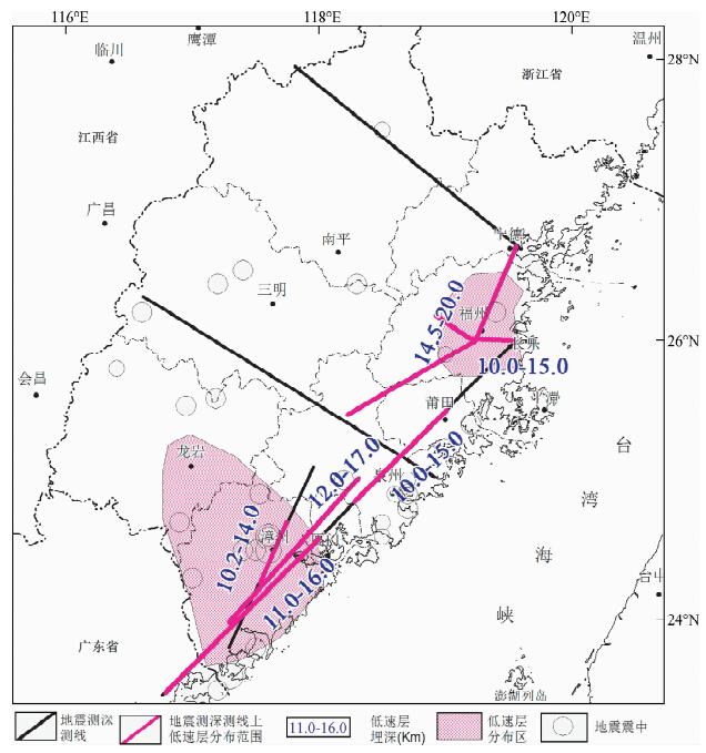).本文在综合前人工作基础上,首先简述已开展地震探测工作概况,进而总结分析福建地区莫霍面深度变化及其分布特征、地壳上地幔速度结构特征和低速层分布状况. 1 福建地区已开展地壳上地幔地震探测工作概述 福建地区已开展的地震探测工作从运用方法的角度出发,可大致分为四种:深地震测深(深地震宽角反射/折射剖面)、深地震反射、宽频地震观测和地震层析成像.